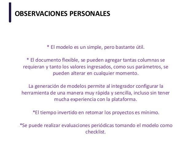 OBSERVACIONES PERSONALES * El modelo es un simple, pero bastante útil. * El documento flexible, se pueden agregar tantas c...