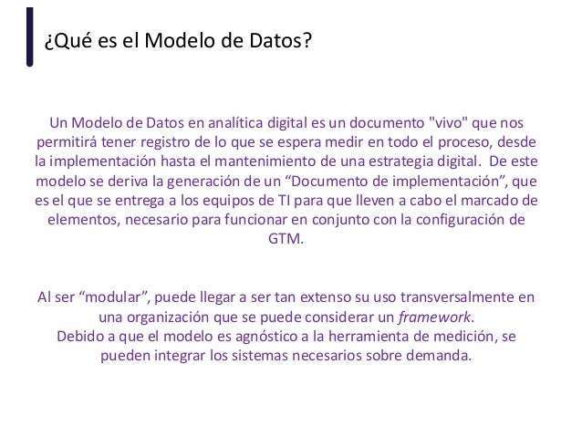 """¿Qué es el Modelo de Datos? Un Modelo de Datos en analítica digital es un documento """"vivo"""" que nos permitirá tener registr..."""