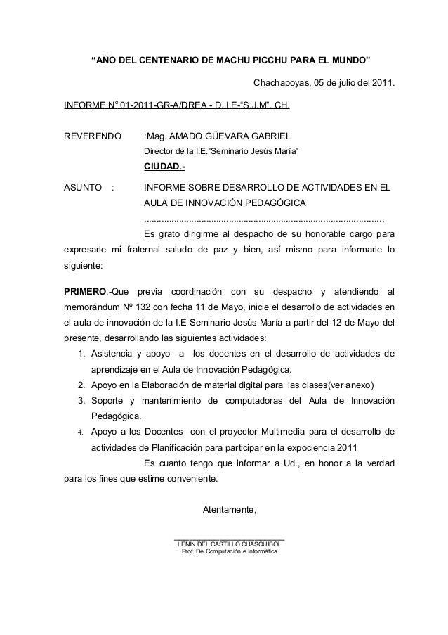 """""""AÑO DEL CENTENARIO DE MACHU PICCHU PARA EL MUNDO"""" Chachapoyas, 05 de julio del 2011. INFORME No 01-2011-GR-A/DREA - D. I...."""