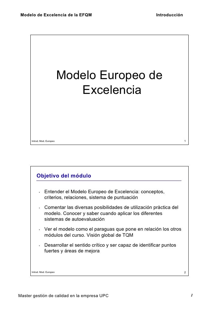 Modelo de Excelencia de la EFQM                                       Introducción                                  Modelo...
