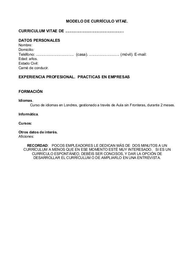 MODELO DE CURRÍCULO VITAE.CURRICULUM VITAE DE .  Modelos De Resume