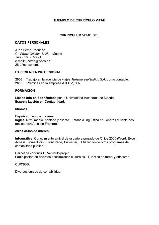 Modelo Ejemplo Curriculum Practicas
