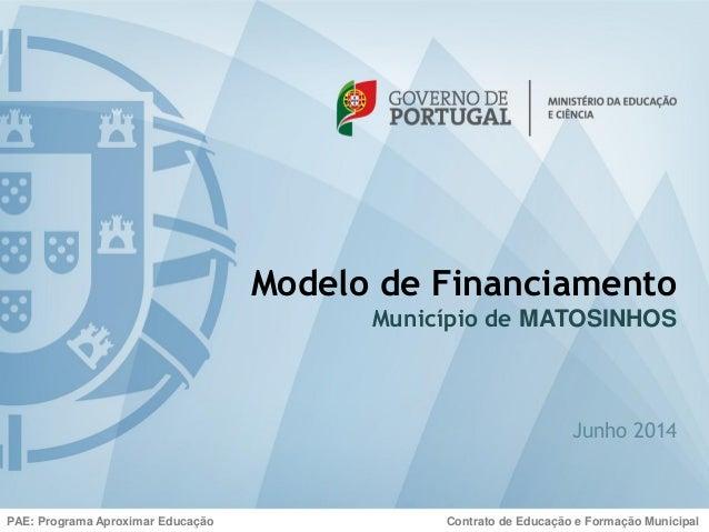 Modelo de Financiamento Município de MATOSINHOS Junho 2014 PAE: Programa Aproximar Educação Contrato de Educação e Formaçã...