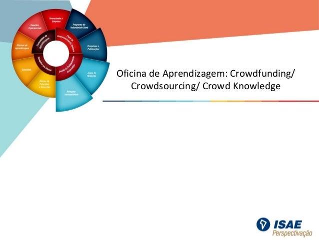 Oficina de Aprendizagem: Crowdfunding/ Crowdsourcing/ Crowd Knowledge