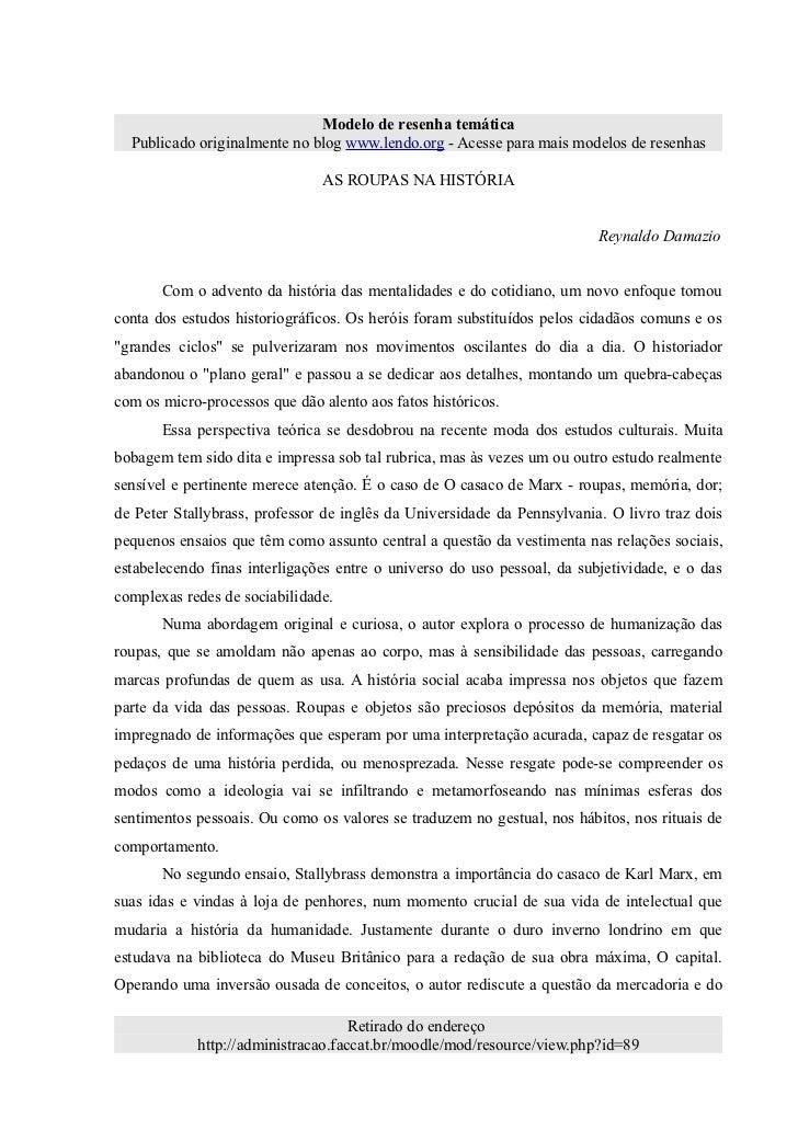 Modelo de resenha temática  Publicado originalmente no blog www.lendo.org - Acesse para mais modelos de resenhas          ...