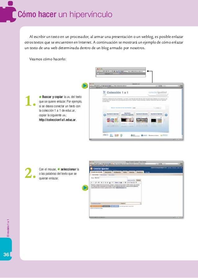 Elmodelo1a1 36 Cómo hacer un hipervínculo Al escribir un texto en un procesador, al armar una presentación o un weblog, es...
