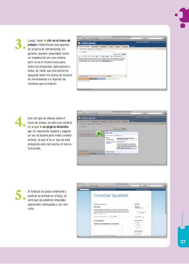 37 cómohacer... Luego, hacer clic en el ícono de enlace o hipervínculo que aparece en la barra de herramientas. En general...
