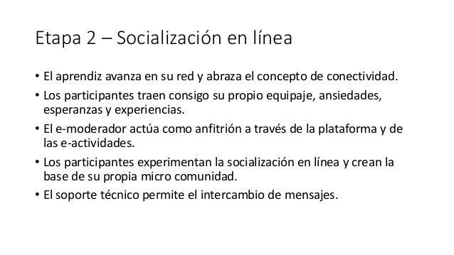 Etapa 2 – Socialización en línea • El aprendiz avanza en su red y abraza el concepto de conectividad. • Los participantes ...