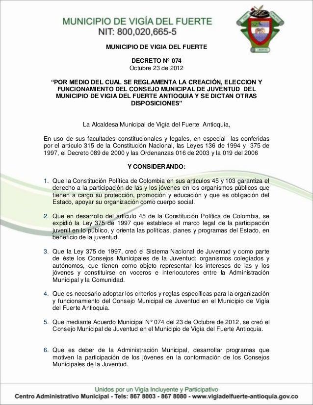 MUNICIPIO DE VIGIA DEL FUERTE                               DECRETO Nº 074                               Octubre 23 de 201...