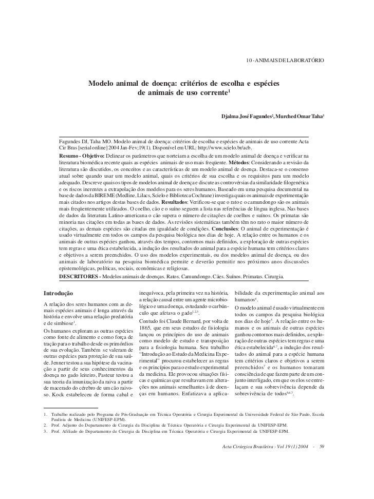Modelo animal de doença: critérios de escolha e espécies de animais de uso corrente                                       ...