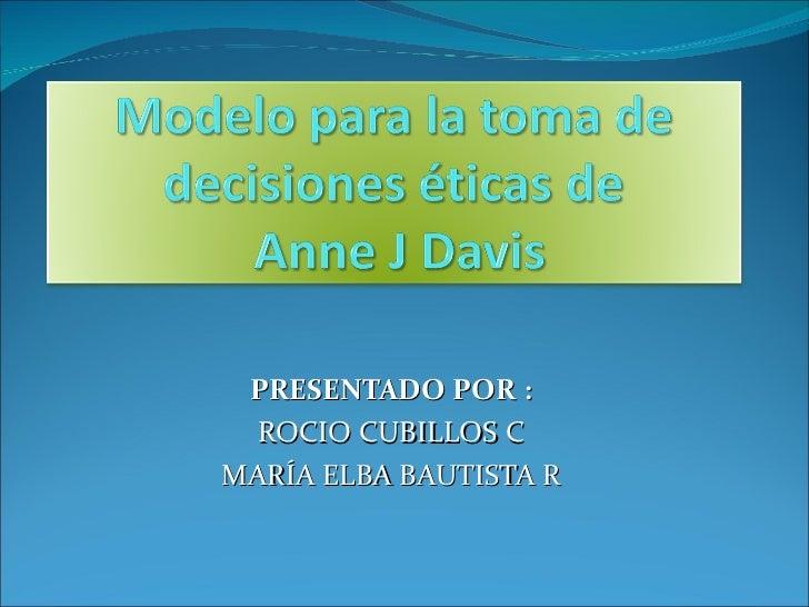 PRESENTADO POR : ROCIO CUBILLOS C MARÍA ELBA BAUTISTA R