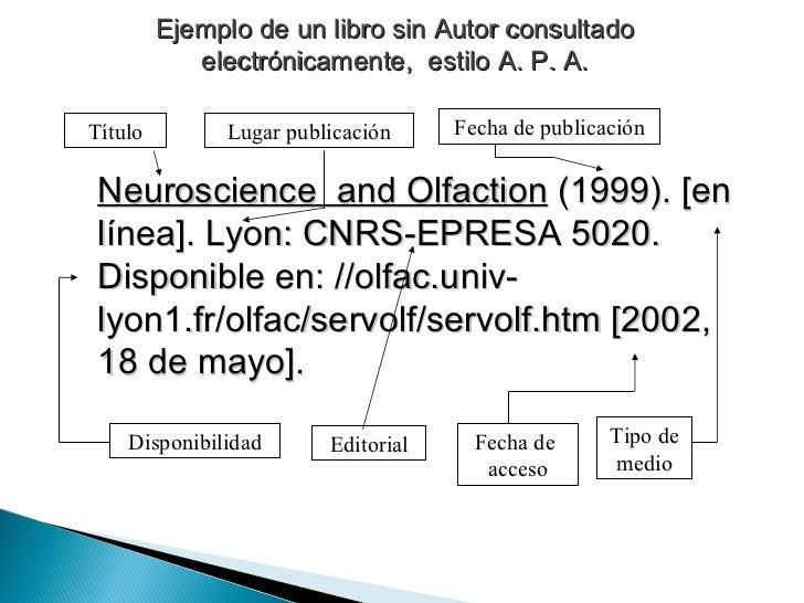 Ejemplo de un libro sin Autor consultado electrónicamente,  estilo A. P. A. Neuroscience  and Olfaction  (1999). [en línea...