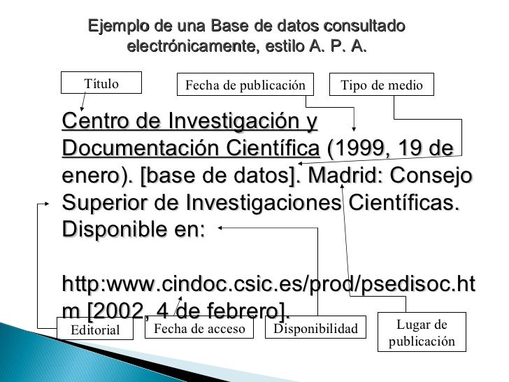 Ejemplo de una Base de datos consultado electrónicamente, estilo A. P. A. Centro de Investigación y Documentación Científi...