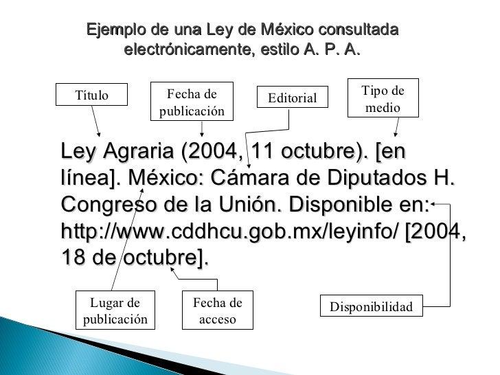 Ejemplo de una Ley de México consultada electrónicamente, estilo A. P. A. Ley Agraria (2004, 11 octubre). [en línea]. Méxi...