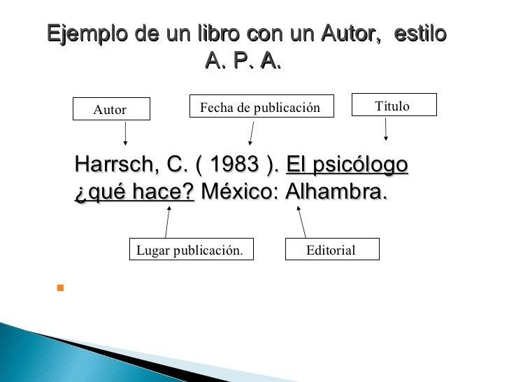 Ejemplo de un libro con un Autor,  estilo A. P. A.   <ul><li>Harrsch, C. ( 1983 ).  El psicólogo ¿qué hace?  México: Alham...