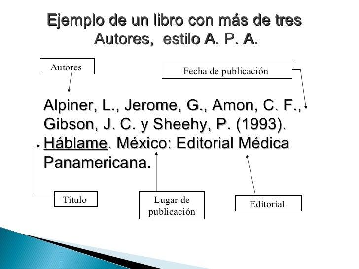 Ejemplo de un libro con más de tres  Autores,  estilo A. P. A. Alpiner, L., Jerome, G., Amon, C. F., Gibson, J. C. y Sheeh...