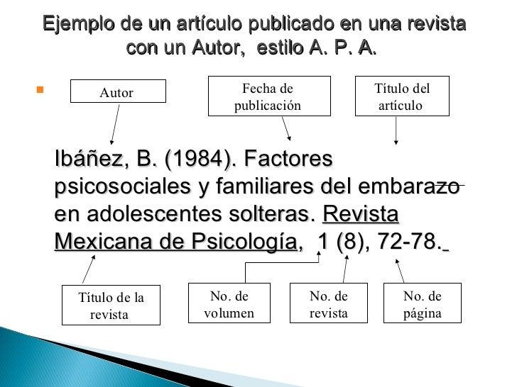 Ejemplo de un artículo publicado en una revista con un Autor,  estilo A. P. A.   <ul><li>Ibáñez, B. (1984). Factores psico...