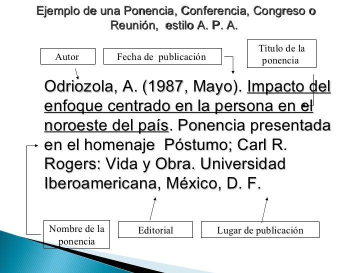Ejemplo de una Ponencia, Conferencia, Congreso o Reunión,  estilo A. P. A.   Odriozola, A. (1987, Mayo).  Impacto del enfo...