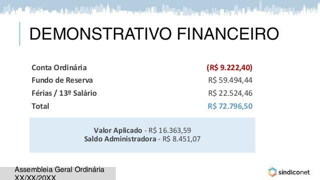 Assembleia Geral OrdináriaAssembleia Geral Ordinária Valor Aplicado - R$ 16.363,59 Saldo Administradora - R$ 8.451,07 Cont...
