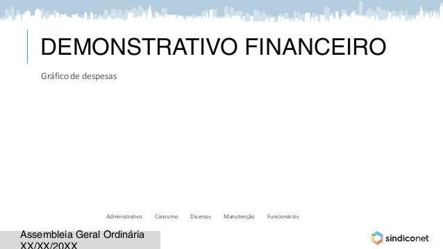 Assembleia Geral OrdináriaAssembleia Geral Ordinária DEMONSTRATIVO FINANCEIRO 8% 18%6% 19% 49% Gráfico de despesas Adminis...