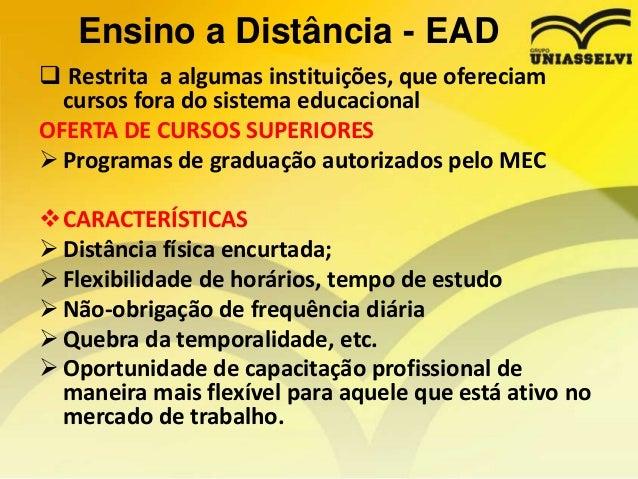 Ensino a Distância - EAD  Restrita a algumas instituições, que ofereciam cursos fora do sistema educacional OFERTA DE CUR...