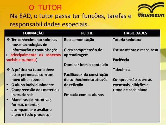 O TUTOR Na EAD, o tutor passa ter funções, tarefas e responsabilidades especiais. FORMAÇÃO  PERFIL   Ter conhecimento sob...