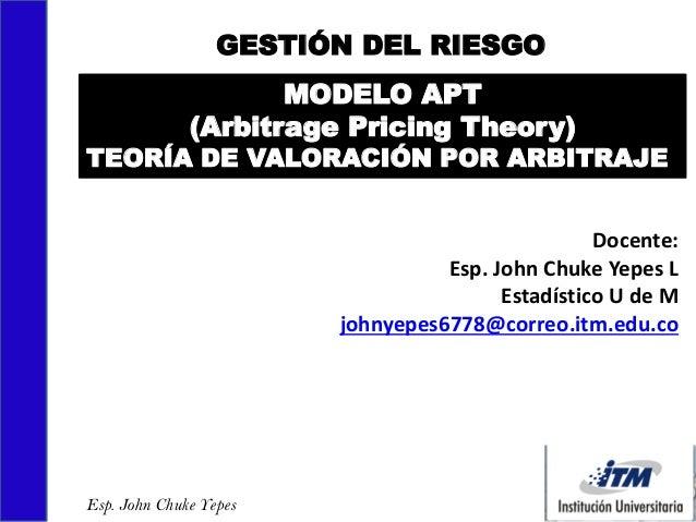 Docente: Esp. John Chuke Yepes L Estadístico U de M johnyepes6778@correo.itm.edu.co GESTIÓN DEL RIESGO Esp. John Chuke Yep...