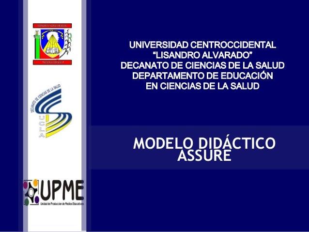 """UNIVERSIDAD CENTROCCIDENTAL """"LISANDRO ALVARADO"""" DECANATO DE CIENCIAS DE LA SALUD DEPARTAMENTO DE EDUCACIÓN EN CIENCIAS DE ..."""