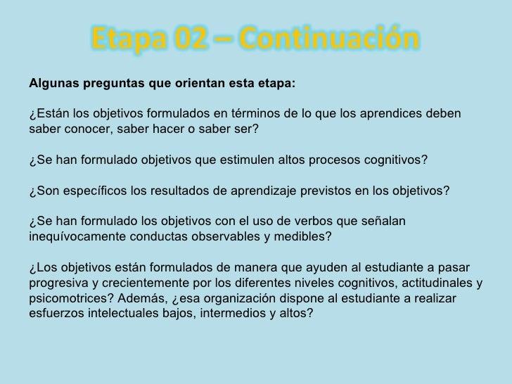 Algunas preguntas que orientan esta etapa: ¿Están los objetivos formulados en términos de lo que los aprendices deben sabe...