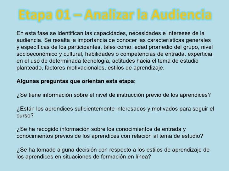 En esta fase se identifican las capacidades, necesidades e intereses de la audiencia. Se resalta la importancia de conocer...