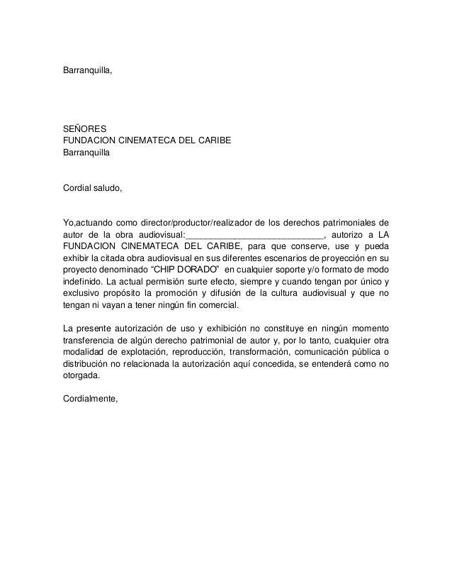Barranquilla, SEÑORES FUNDACION CINEMATECA DEL CARIBE Barranquilla Cordial saludo, Yo,actuando como director/productor/rea...