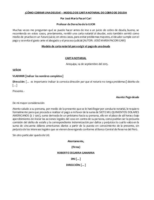 Modelo Carta Notarial Cobro De Deuda