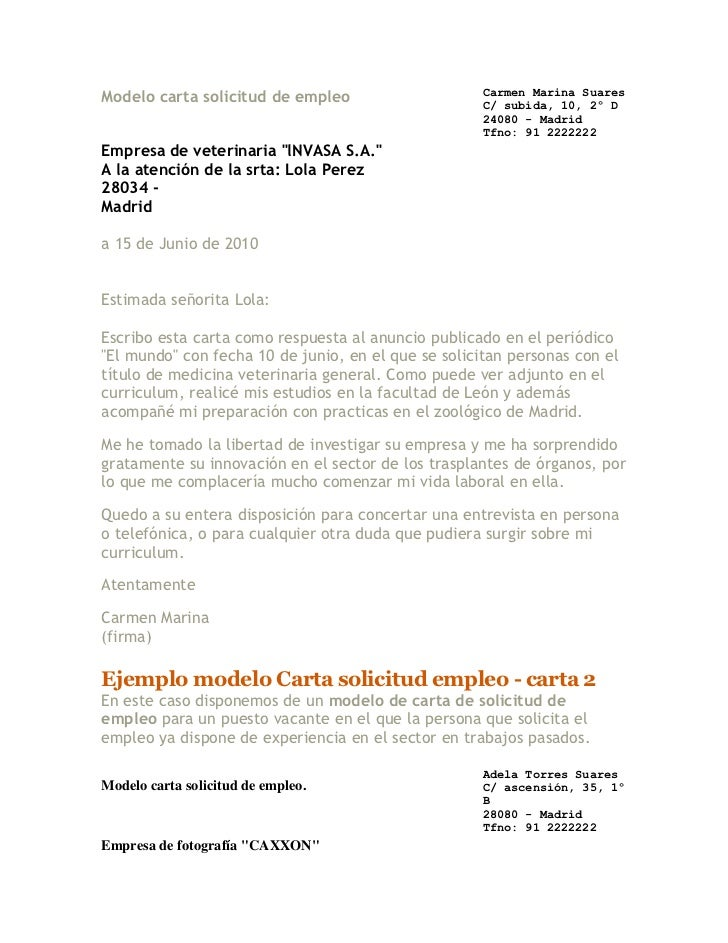 Modelo Carta Solicitud De Empleo