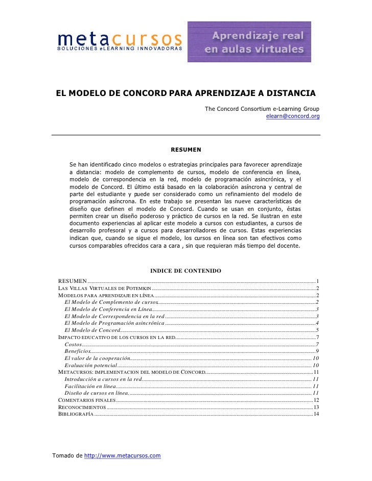 EL MODELO DE CONCORD PARA APRENDIZAJE A DISTANCIA                                                                         ...