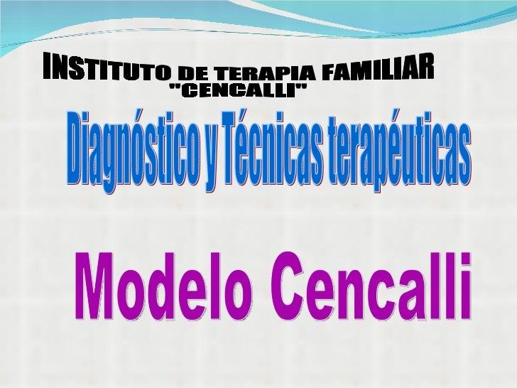 "INSTITUTO DE TERAPIA FAMILIAR ""CENCALLI"" Diagnóstico y Técnicas terapéuticas  Modelo Cencalli"