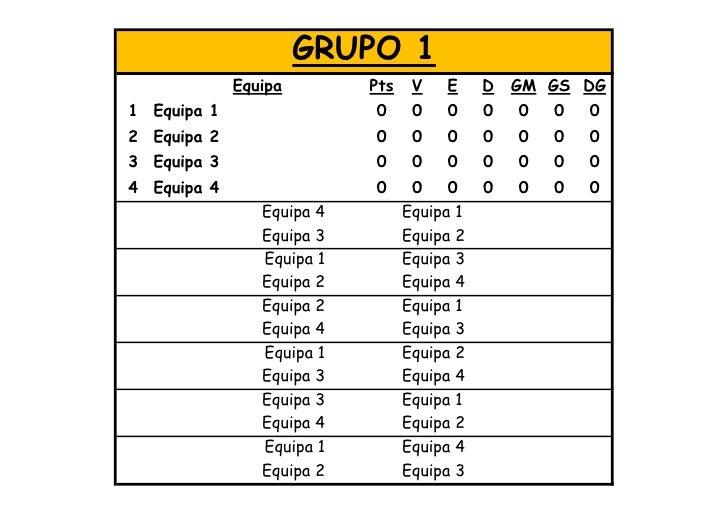 GRUPO 1              Equipa        Pts    V   E     D   GM GS DG 1 Equipa 1                 0      0   0     0   0   0   0...