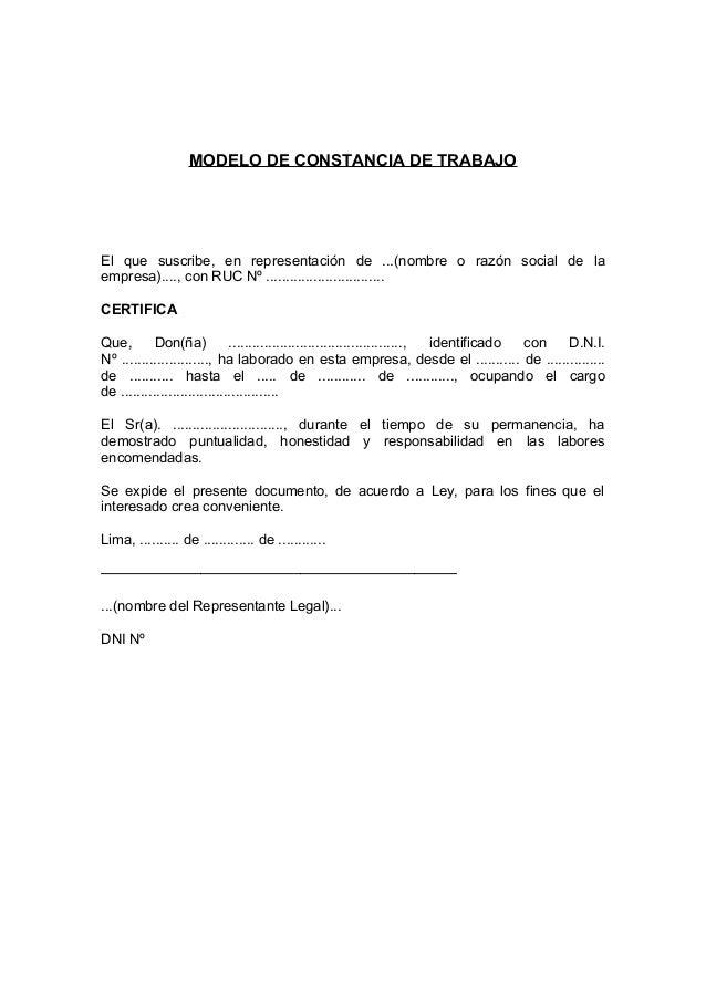 MODELO DE CONSTANCIA DE TRABAJO El que suscribe, en representación de ...(nombre o razón social de la empresa)...., con RU...