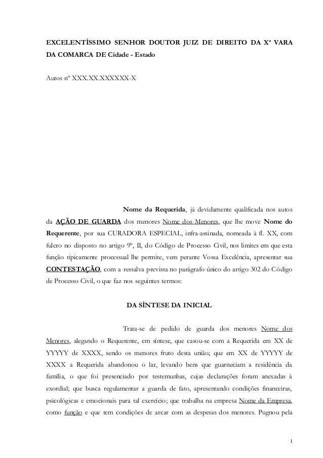 1 EXCELENTÍSSIMO SENHOR DOUTOR JUIZ DE DIREITO DA Xª VARA DA COMARCA DE Cidade - Estado Autos nº XXX.XX.XXXXXX-X Nome da R...