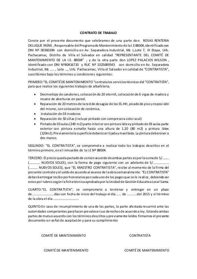 Modelo De Contrato De Trabajo Por Obra Cierta Ecuador