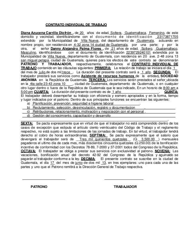 Modelo contrato de trabajo diana carrillo for Contrato indefinido ejemplo