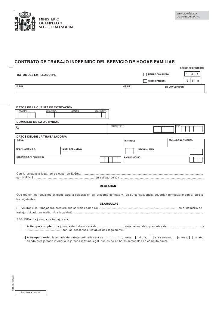 Modelo contrato empleado hogar Modelo contrato empleada de hogar interna