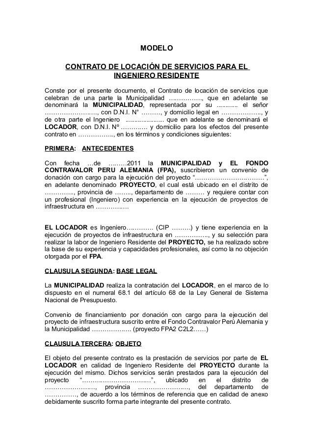 Modelo Contrato Locacion Servicios Ingeniero Residente