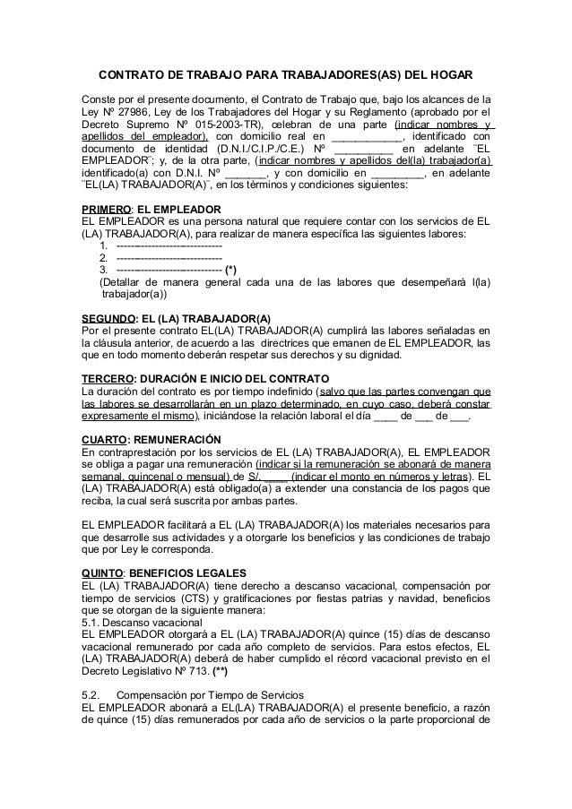 Modelo contrato th Contrato de trabajo indefinido servicio hogar familiar