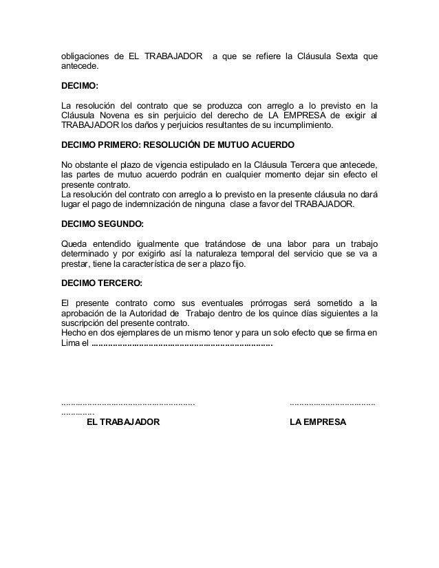 Modelo contrato trabajo for Que es una clausula