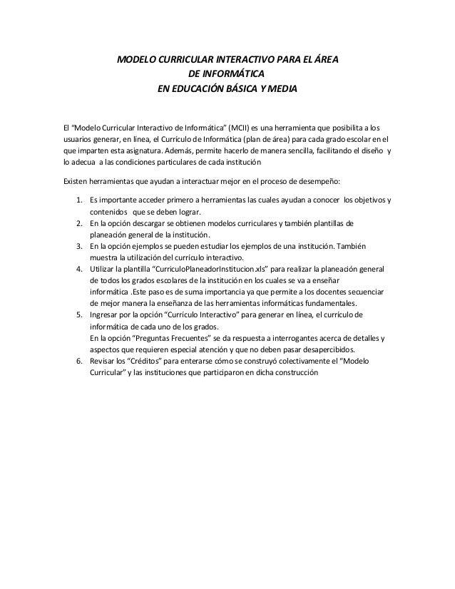 """MODELO CURRICULAR INTERACTIVO PARA EL ÁREA DE INFORMÁTICA EN EDUCACIÓN BÁSICA Y MEDIA El """"Modelo Curricular Interactivo de..."""