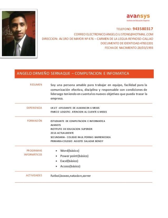 curriculum vitae modelo colombiano