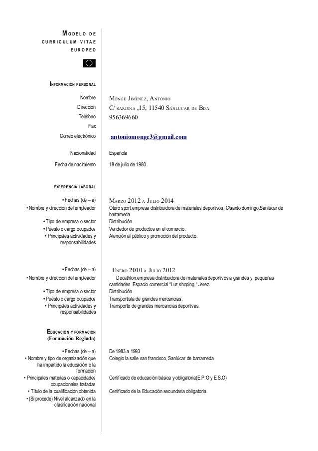 ejemplos reales curriculum vitae europeo modelo cv europeo 1