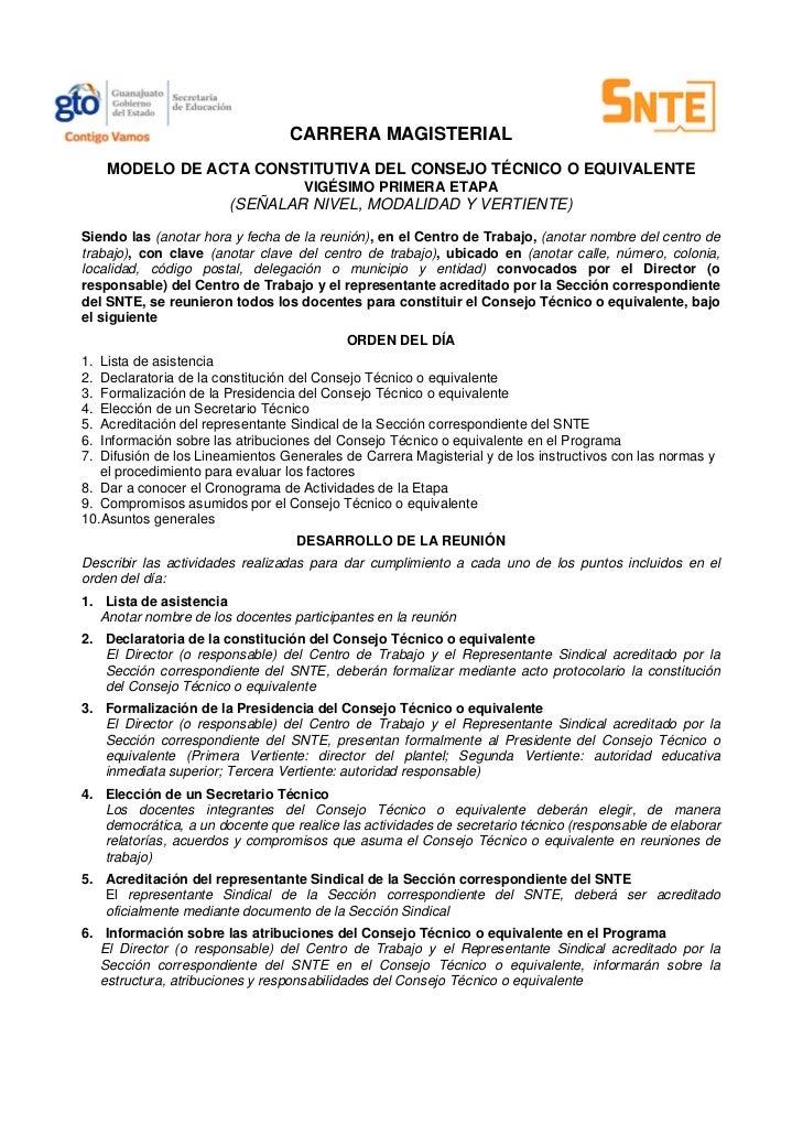 CARRERA MAGISTERIAL     MODELO DE ACTA CONSTITUTIVA DEL CONSEJO TÉCNICO O EQUIVALENTE                                    V...