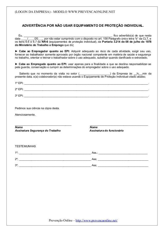 c0f0ea3731d10 Modelo de advertência de EPI. (LOGON DA EMPRESA) - MODELO  WWW.PREVENCAONLINE.NET ADVERTÊNCIA POR NÃO USAR
