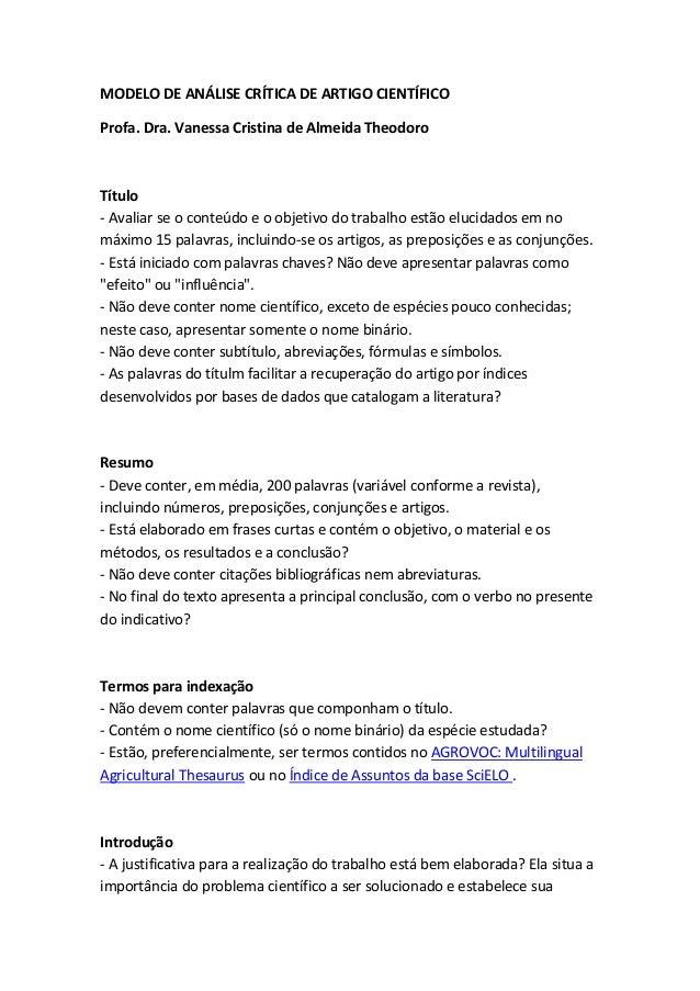 MODELO DE ANÁLISE CRÍTICA DE ARTIGO CIENTÍFICOProfa. Dra. Vanessa Cristina de Almeida TheodoroTítulo- Avaliar se o conteúd...
